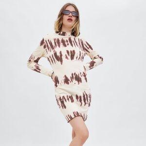 Zara Tie Dye Print Long Sleeve Mini Dress
